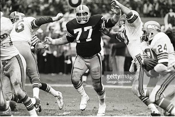 Defensive lineman Lyle Alzado of the Cleveland Browns pursues against the Seattle Seahawks at Municipal Stadium on November 11 1979 in Cleveland Ohio