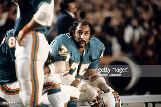 Defensive lineman Manny Fernandez of the Miami Dolphins on the bench during a game against the St Louis Cardinals on November 27 1972 at the Orange...