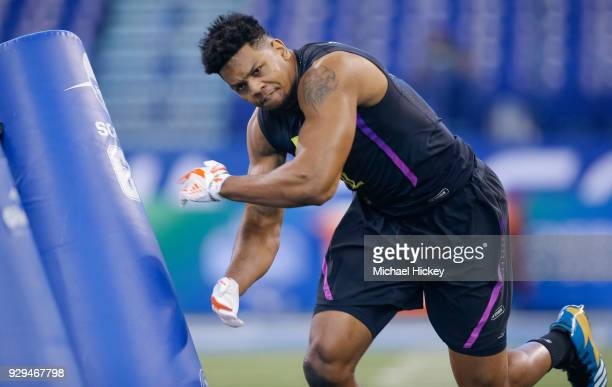 UTSA defensive lineman Marcus Davenport participates in a drill during the NFL Scouting Combine at Lucas Oil Stadium on March 2018 in Indianapolis...