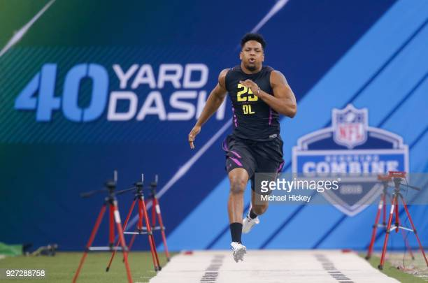 UTSA defensive lineman Marcus Davenport runs in the 40 yard dash during the NFL Scouting Combine at Lucas Oil Stadium on March 4 2018 in Indianapolis...