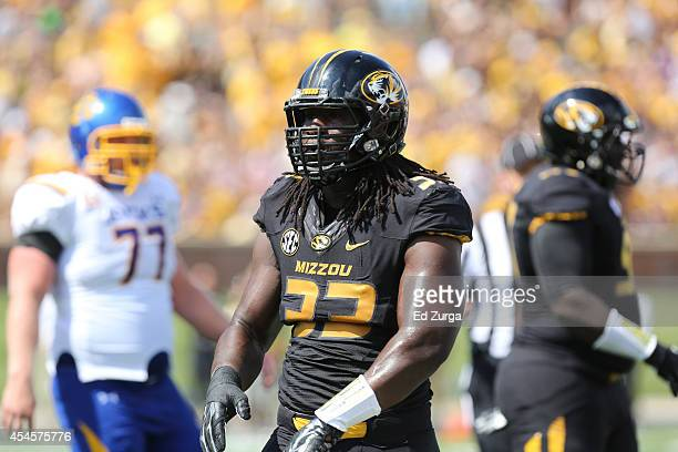 Defensive lineman Markus Golden of the Missouri Tigers in action against the South Dakota State Jackrabbits at Memorial Stadium on August 30 2014 in...