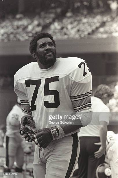 Defensive lineman 'Mean Joe' Greene of the Pittsburgh Steelers on the sideline during a game against the Cincinnati Bengals at Riverfront Stadium on...