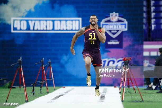 Defensive lineman Montez Sweat of Mississippi State runs the 40-yard dash during day four of the NFL Combine at Lucas Oil Stadium on March 3, 2019 in...
