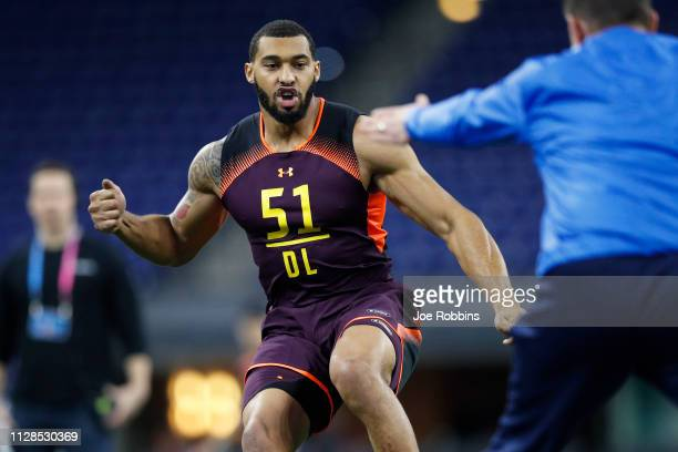 Defensive lineman Montez Sweat of Mississippi State works out during day four of the NFL Combine at Lucas Oil Stadium on March 3 2019 in Indianapolis...