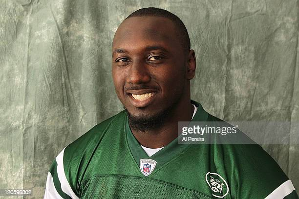 Defensive Lineman Muhammad Wilkerson of the New York Jets poses for a portrait at the NY Jets Practice Facility on August 7 2011 in Florham Park New...