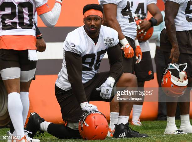 Defensive lineman Myles Garrett of the Cleveland Browns watches drills during an OTA practice on May