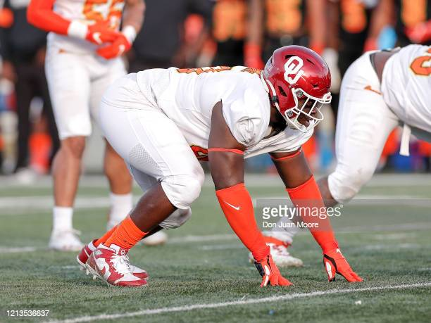 Defensive Lineman Neville Gallimore from Oklahoma of the North Team during the 2020 Resse's Senior Bowl at LaddPeebles Stadium on January 25 2020 in...