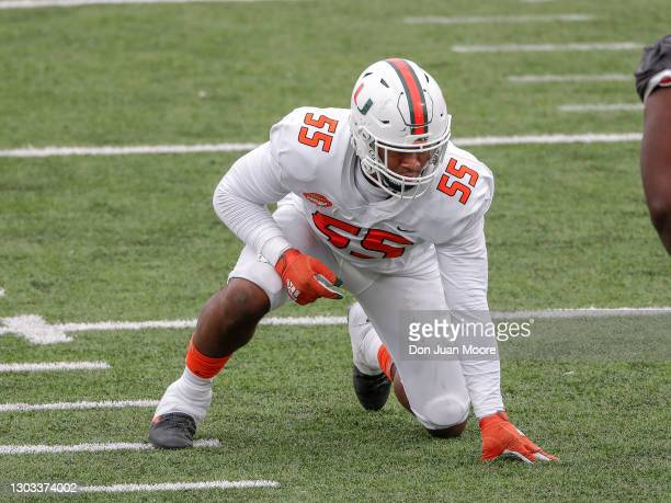 Defensive Lineman Quincy Roche from Miami of the American Team during the 2021 Resse's Senior Bowl at Hancock Whitney Stadium on the campus of the...