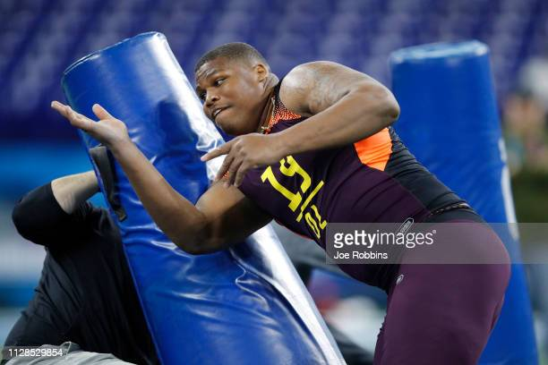 Defensive lineman Quinnen Williams of Alabama works out during day four of the NFL Combine at Lucas Oil Stadium on March 3 2019 in Indianapolis...