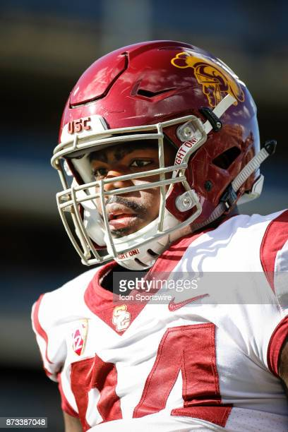 USC defensive lineman Rasheem Green watches on during warmups before the Colorado Buffalos game versus the USC Trojans on November 11 at Folsom Field...