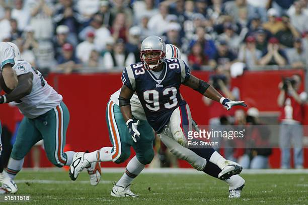 Defensive lineman Richard Seymour of the New England Patriots runs during the game against the Miami Dolphins at Gillette Stadium on October 10, 2004...