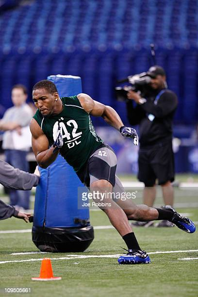 Defensive lineman Robert Quinn of North Carolina runs through a drill during the 2011 NFL Scouting Combine at Lucas Oil Stadium on February 28 2011...