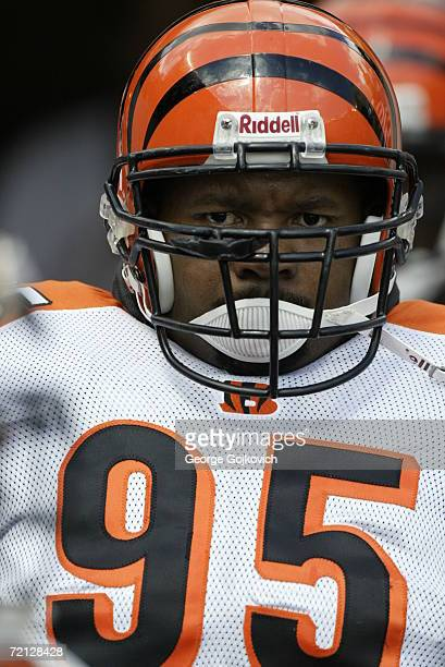 Defensive lineman Sam Adams of the Cincinnati Bengals on the sideline during a game against the Pittsburgh Steelers at Heinz Field on September 24...