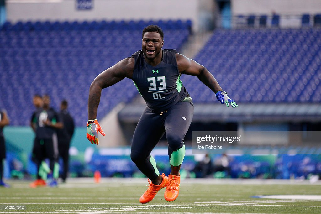 Defensive lineman Shaq Lawson of Clemson participates in a drill during the 2016 NFL Scouting Combine at Lucas Oil Stadium on February 28, 2016 in Indianapolis, Indiana.