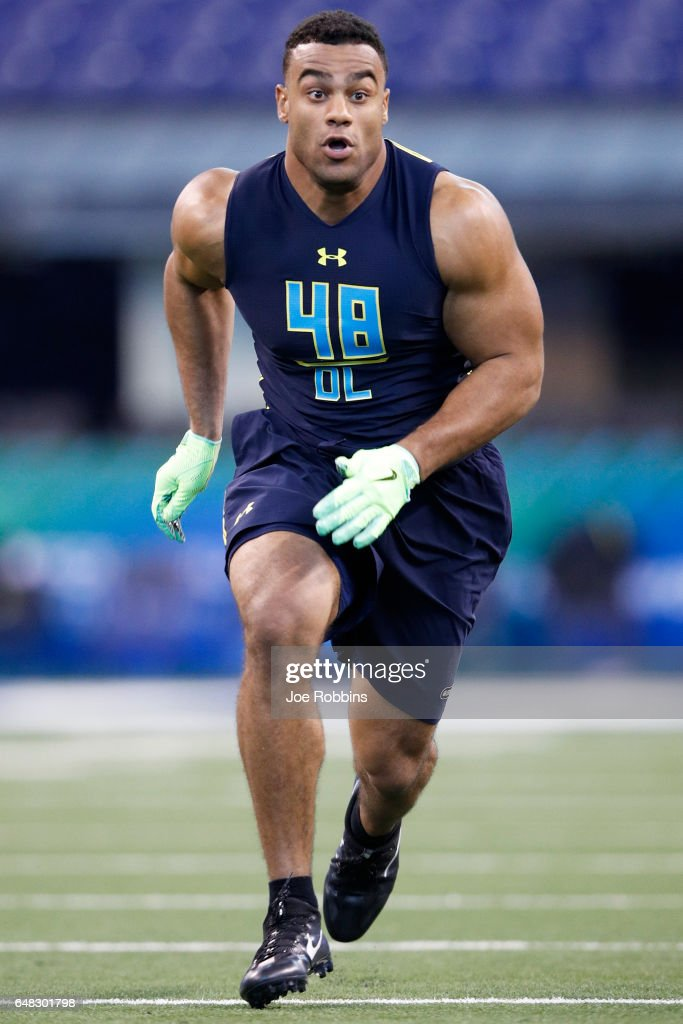 Defensive lineman Solomon Thomas of Stanford participates in a drill during day five of the NFL Combine at Lucas Oil Stadium on March 5, 2017 in Indianapolis, Indiana.