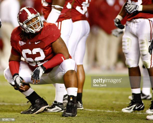 Defensive lineman Terrence Cody of the Alabama Crimson Tide gets set for a play during the game against the South Carolina Gamecocks at BryantDenny...