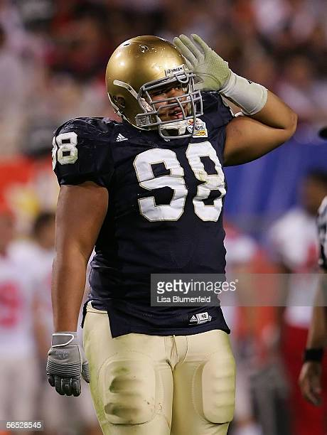 Defensive lineman Trevor Laws of the Notre Dame Fighting Irish puts his hand on his helmet in the game against the Ohio State Buckeyes at the...