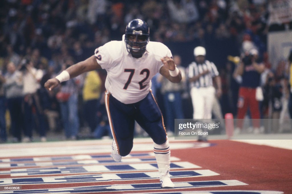 Defensive Lineman William 'The Refrigerator' Perry #72 of the Chicago Bears runs in the end zone during Super Bowl XX against the New England Patriots at the Superdome on January 26, 1986 in New Orleans, Louisiana. The Bears defeated the Patriots 46-10.