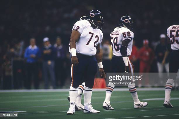 Defensive Lineman William The Refrigerator Perry of the Chicago Bears stands on the field during Super Bowl XX against the Chicago Bears on January...