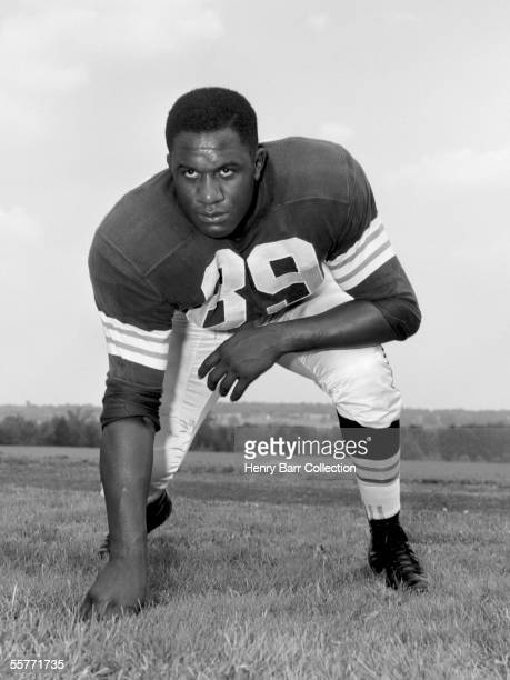 Defensive lineman Willie Davis, of the Cleveland Browns, poses for a portrait during training camp in July, 1958 at Hiram College in Hiram, Ohio.
