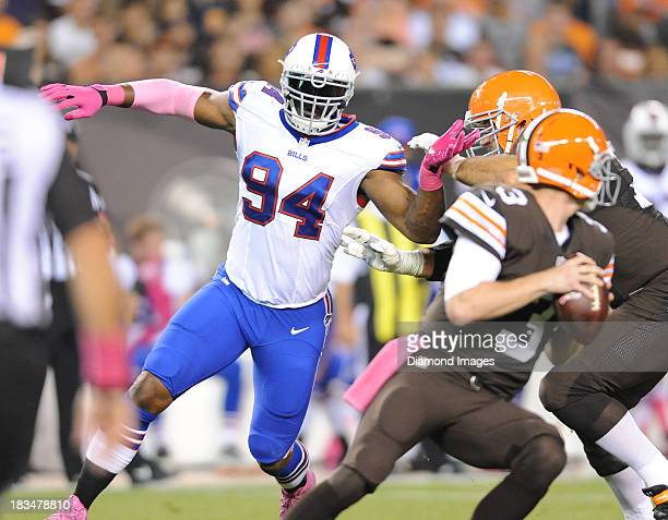 Defensive linemen Mario Williams of the Buffalo Bills rushes the quarterback during a game against the Cleveland Browns at FirstEnergy Stadium in...