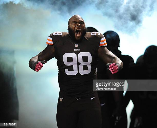 Defensive linemen Phil Taylor of the Cleveland Browns is introduced before a game against the Buffalo BIlls at FirstEnergy Stadium in Cleveland Ohio...