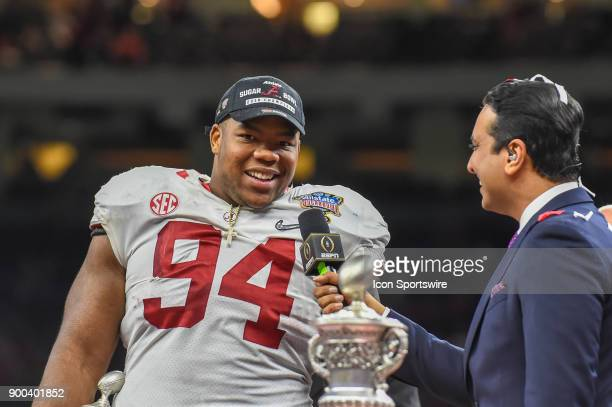 Defensive player of the game Alabama Crimson Tide defensive lineman Da'Ron Payne is interviewed following the College Football Playoff Semifinal at...