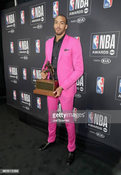 Defensive Player of the Year Rudy Gobert attends the 2018 NBA Awards at Barkar Hangar on June 25 2018 in Santa Monica California