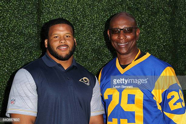 Defensive tackle Aaron Donald of the Los Angeles Rams and Former NFL player Eric Dickerson attend LASEC Hosts NFL AllAccess With The Los Angeles Rams...