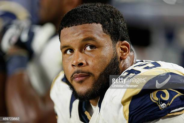 Defensive tackle Aaron Donald of the St Louis Rams on the bench during the NFL game against the Arizona Cardinals at the University of Phoenix...