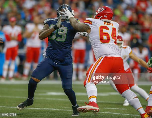 Defensive tackle AJ Francis of the Seattle Seahawks battles Damien Mama of the Kansas City Chiefs at CenturyLink Field on August 25 2017 in Seattle...