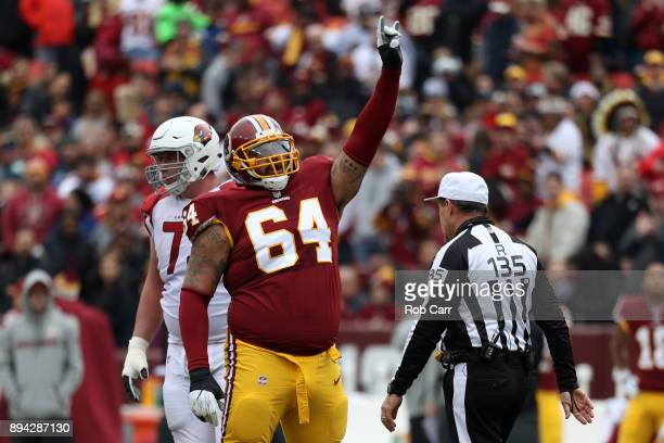 Defensive Tackle AJ Francis of the Washington Redskins celebrates after a play in the second quarter against the Arizona Cardinals at FedEx Field on...