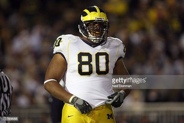 Defensive tackle Alan Branch of the University of Michigan Wolverines stands on the field against the Penn State Nittany Lions at Beaver Stadium on...