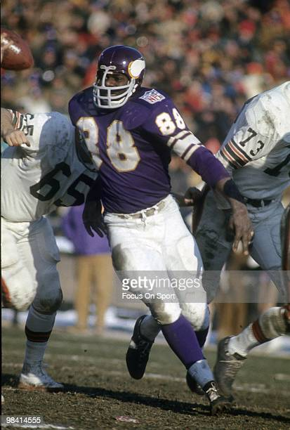 Defensive Tackle Alan Page of the Minnesota Vikings in action gets past guard John Demarie of the Cleveland Browns circa late 1969 during an NFL...