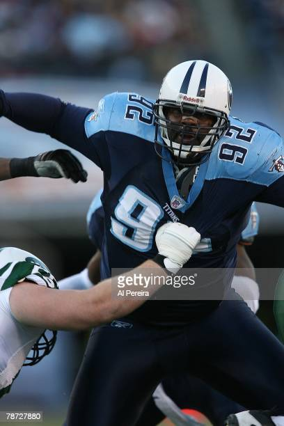 Defensive Tackle Albert Haynesworth of the Tennessee Titans rushing against the New York Jets at LP Field, Nashville, Tennessee on December 23, 2007....