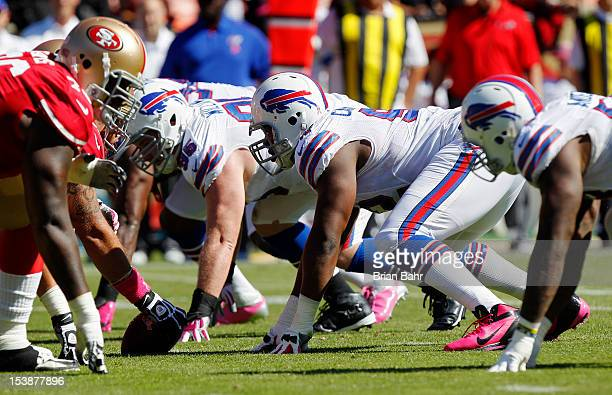 Defensive tackle Alex Carrington of the Buffalo Bills lines up against the San Francisco 49ers in the first quarter on October 7 2012 at Candlestick...