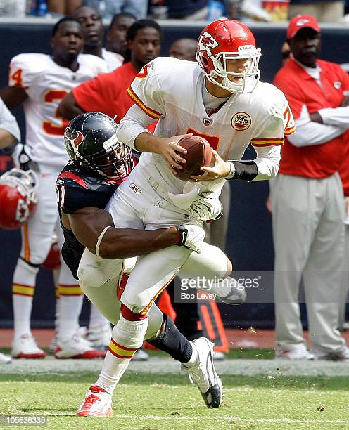 Defensive tackle Amobi Akoye of the Houston Texans sacks quarterback Matt Cassel of the Kansas City Chiefs on the final play of the game to secure a...
