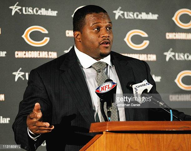 Defensive tackle Anthony Adams of the Chicago Bears speaks to media during the 2010 Brian Piccolo Award ceremony at Halas Hall on April 26 2011 in...