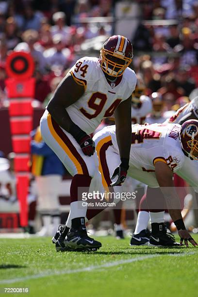 Defensive tackle Anthony Montgomery of the Washington Redskins waits for the snap during the game against the Tennessee Titans on October 15 2006 at...