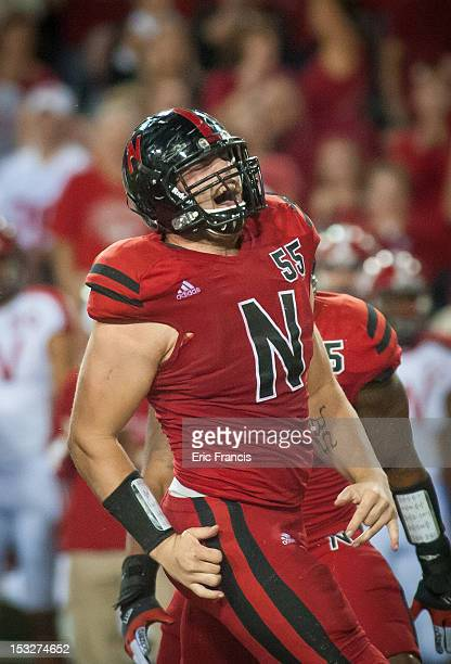 Defensive tackle Baker Steinkuhler of the Nebraska Cornhuskers celebrates a tackle against the Wisconsin Badgers during their game at Memorial...