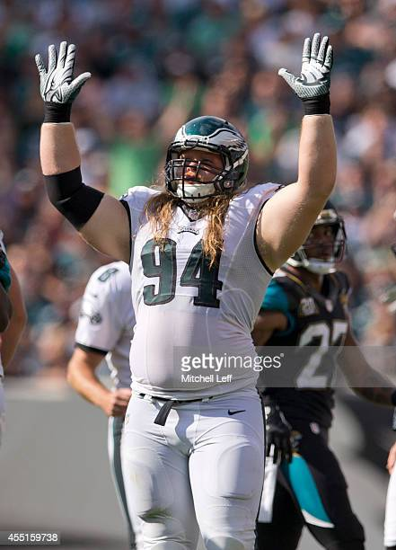 Defensive tackle Beau Allen of the Philadelphia Eagles reacts to a made field goal in the game against the Jacksonville Jaguars on September 7, 2014...