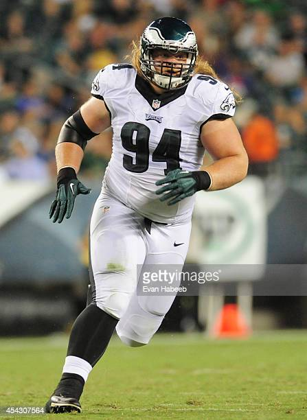 Defensive tackle Beau Allen of the Philadelphia Eagles rushes the quarterback in the preseason game against the New York Jets on August 28, 2014 at...