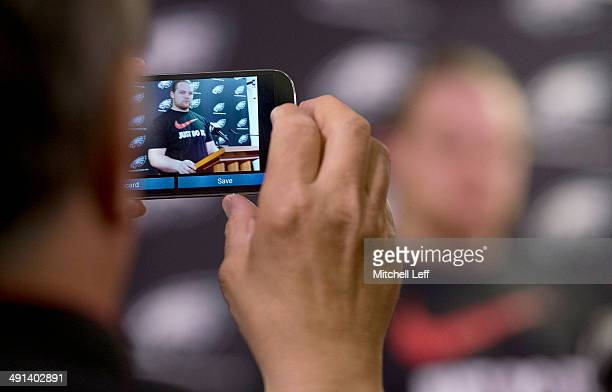 Defensive tackle Beau Allen of the Philadelphia Eagles speaks to reporters during the rookie minicamp on May 16, 2014 at the NovaCare Complex in...
