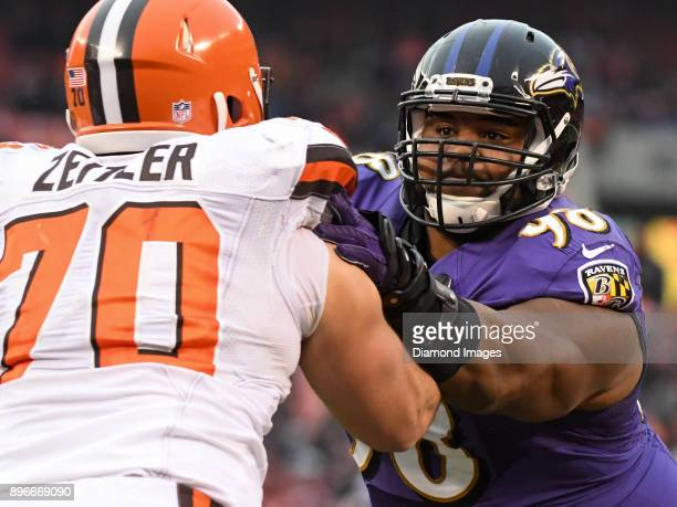 Defensive tackle Brandon Williams of the Baltimore Ravens engages right guard Kevin Zeitler of the Cleveland Browns in the third quarter of a game on...