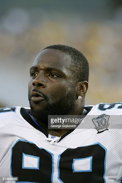 Defensive tackle Brentson Buckner of the Carolina Panthers during the Carolina Panthers 1613 preseason game victory over the Pittsburgh Steelers on...