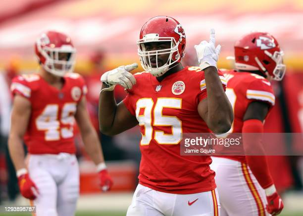 Defensive tackle Chris Jones of the Kansas City Chiefs reacts during the game against the Atlanta Falcons at Arrowhead Stadium on December 27, 2020...