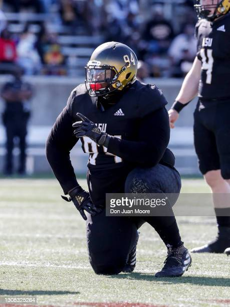 Defensive Tackle Christian Clarke of the Alabama State Hornets during the game against the Jackson State Tigers at New ASU Stadium on March 20, 2021...