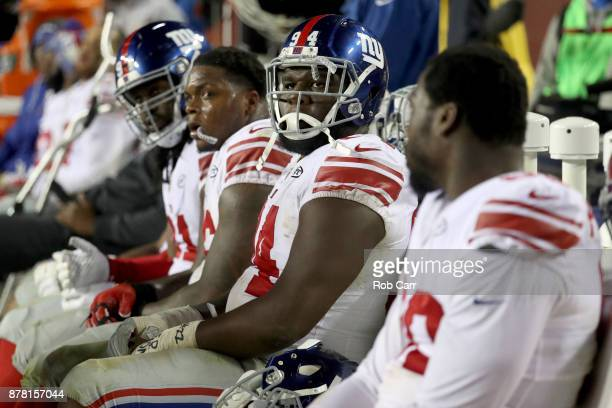 Defensive tackle Dalvin Tomlinson of the New York Giants sits on the bench in the closing moments of the Giants 2010 loss to the Washington Redskins...