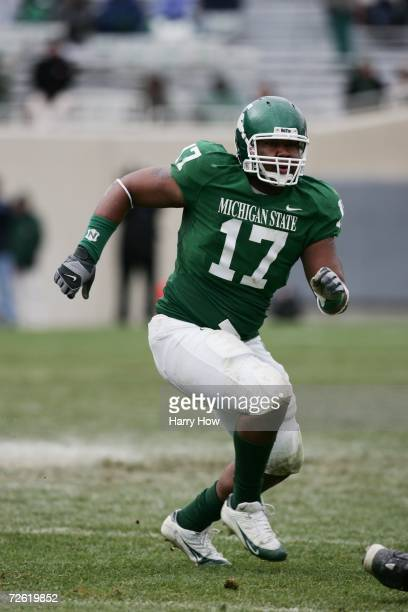 Defensive tackle David Stanton of the Michigan State Spartans runs in pursuit against the Minnesota Golden Gophers at Spartan Stadium on November 11,...