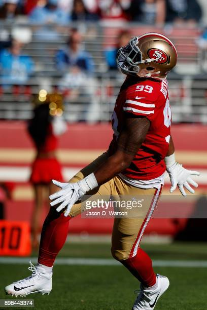 Defensive tackle DeForest Buckner of the San Francisco 49ers celebrates after sacking quarterback Marcus Mariota of the Tennessee Titans during the...